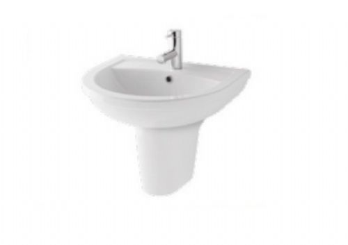 Eastbrook Dura Bathroom 450mm Basin & Semi Pedestal - 1 or 2 Tap Holes